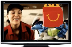 Screen shot of McDonald's TV commercial with Smurfs