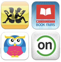 Logos of Kids Book Finder, Scholastic Book Fairs, MeeGenius, and Common Sense Media Kids Media apps
