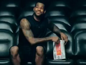 Still from McDonalds ad featuring NBA star LeBron James