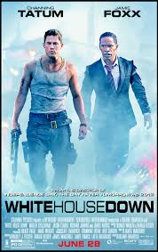 'White House Down' movie poster depicting a character with a large gun